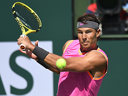March 15, 2019 - Indian Wells, California, U.S. - RAFAEL NADAL (ESP) in action defeating Karen Khachanov (RUS) in the men's singles quarterfinal on March 15, 2019, during the BNP Paribas Open at the Indian Wells Tennis Garden in Indian Wells, CA. Nadal won 7:6, 7:6. (Credit Image: © Cynthia Lum/Icon SMI via ZUMA Press)