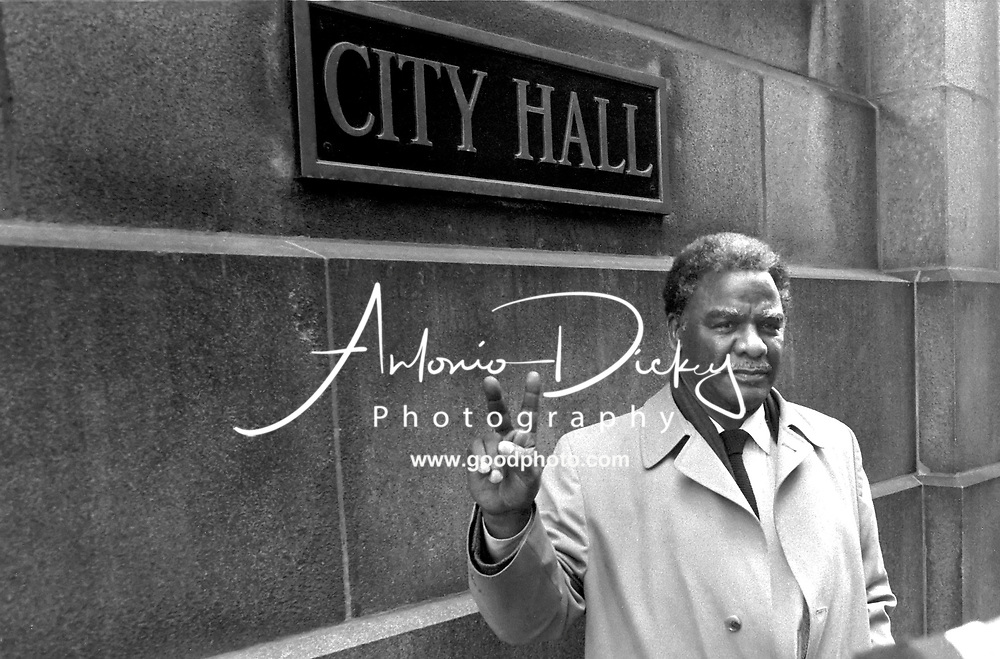 Photo of Mayor Harold Washington in front of City Hall 1982.