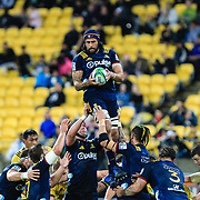 Highlanders line-out during the super rugby union  game between Hurricanes  and Highlanders, played at Westpac Stadium, Wellington, New Zealand on 24 March 2018.  Hurricanes won 29-12.
