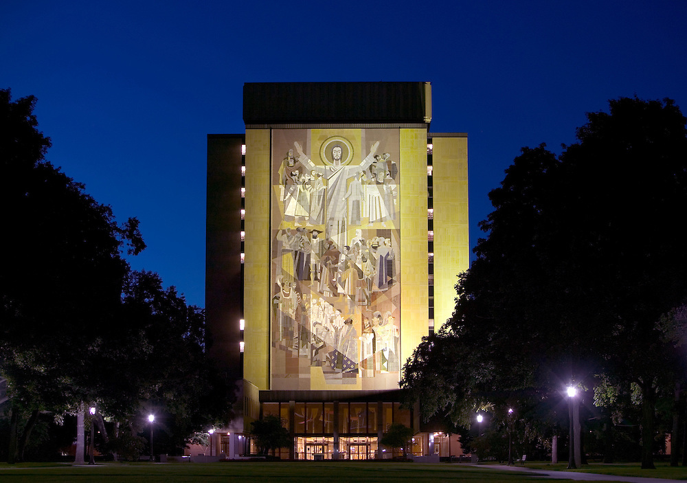 Touchdown Jesus mural on Hesburgh Library