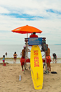 Brooklyn, New York, USA. 10th August 2013. Lifeguards are on duty at the beach for safety of swimmers during the 3rd Annual Coney Island History Day celebration.