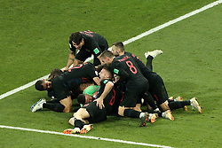 July 7, 2018 - Sochi, Russia - July 07, 2018, Sochi, FIFA World Cup 2018, the playoff round. 1/4 finals of the World Cup. Football match Russia - Croatia at the stadium Fisht. Players of the national team Croatia (Credit Image: © Russian Look via ZUMA Wire)