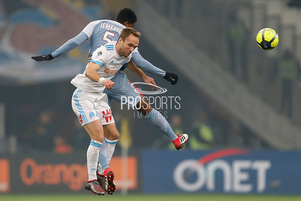 Olympique de Marseille's French forward Valere Germain heads the ball during the French Championship Ligue 1 football match between Olympique de Marseille and AS Monaco on January 28, 2018 at the Orange Velodrome stadium in Marseille, France - Photo Benjamin Cremel / ProSportsImages / DPPI