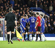 Chelsea striker Diego Costa really not happy that the ref blew for half time during the Barclays Premier League match between Chelsea and West Bromwich Albion at Stamford Bridge, London, England on 13 January 2016. Photo by Matthew Redman.