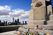 Floral wreaths after Anzac Day, State War Memorial, King's Park, overlooking city of Perth, Western Australia