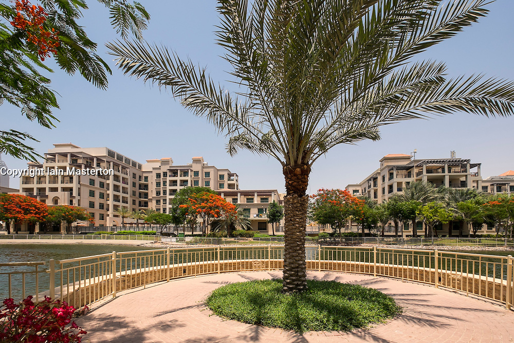 Modern apartment buildings at The Greens residential property development in Dubai United Arab Emirates