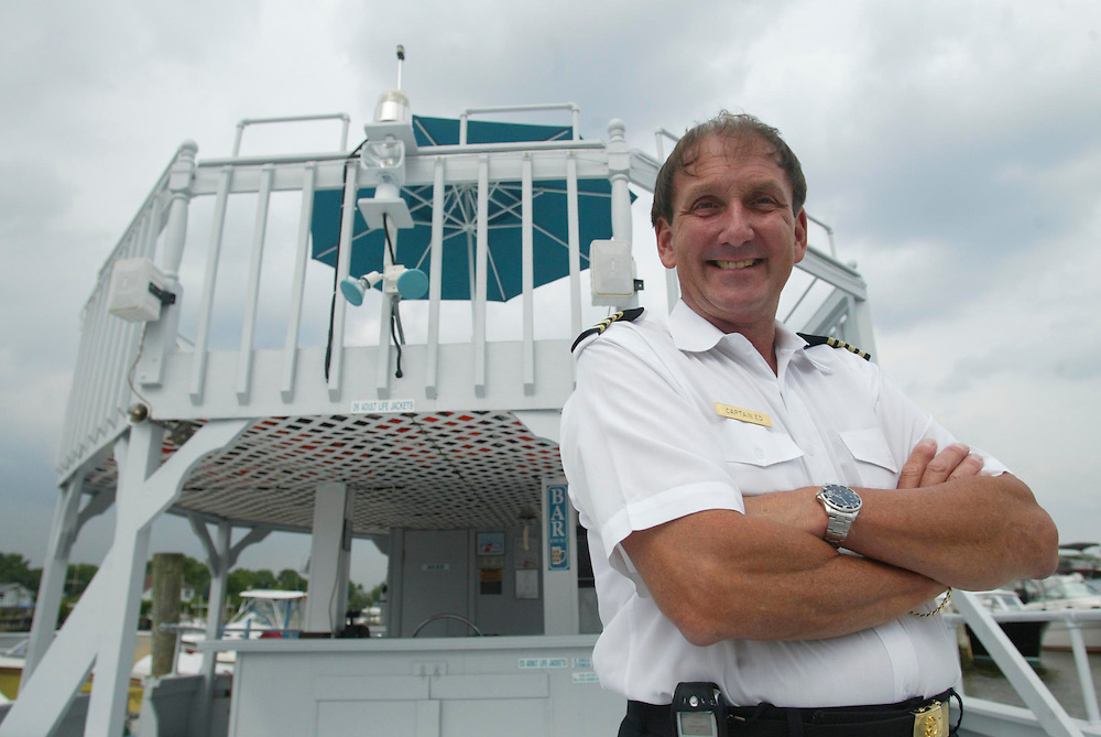 (PBUSINESS) Oceanport 7/8/2003  Capt Ed Pomianoski, owner of the Great Ga-Zee-Boat which is a gazebo shaped boat for dinner or parties.   Michael J. Treola Staff Photographer....MJT