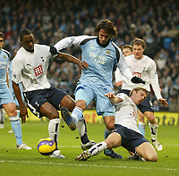 Photo: Aidan Ellis.<br /> Manchester City v Tottenham Hotspur. The Barclays Premiership. 17/12/2006.<br /> City's Georgios Samaras loses out to Spurs Ledley King (L) and Calum Davenport