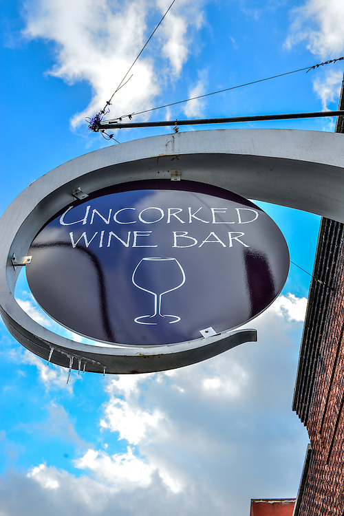 Exterior sign of Uncorked Wine Bar.