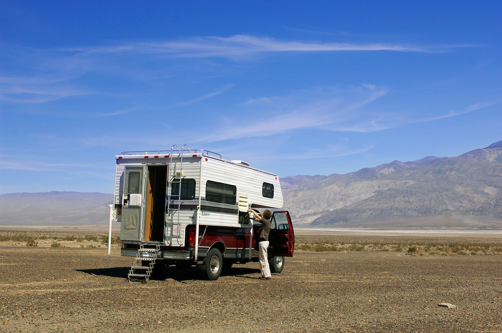Pick up truck camper, near Death Valley National Park, California, United States of America