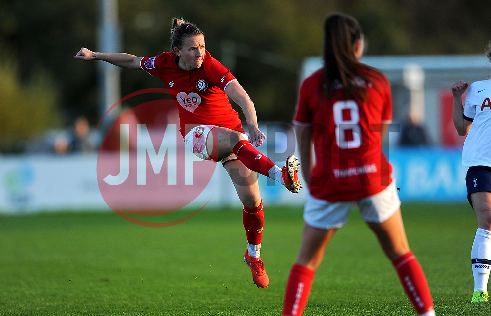 Frankie Brown of Bristol City shoots at goal- Mandatory by-line: Nizaam Jones/JMP - 27/10/2019 - FOOTBALL - Stoke Gifford Stadium - Bristol, England - Bristol City Women v Tottenham Hotspur Women - Barclays FA Women's Super League