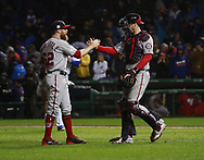 October 11, 2017 - Chicago, IL, USA - Washington Nationals players celebrate after the final out in a 5-0 win against the Chicago Cubs in Game 4 of the National League Division Series at Wrigley Field in Chicago on Wednesday, Oct. 11, 2017. (Credit Image: © Nuccio Dinuzzo/TNS via ZUMA Wire)
