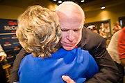 "July 10, 2010 - PHOENIX, AZ: US Senator JOHN MCCAIN (R-AZ) hugs a supporter after a town hall meeting in Phoenix. Sen. McCain held a ""town hall"" meeting at a hotel in Phoenix Saturday morning. He criticized the Obama administration's handling of the war in Afghanistan, specifically the July 2011 date for the beginning of the withdrawl of US forces, the administration's handling of the immigration and border security issue and the recently passed health care reform bill, which he called ""Obamacare."" McCain is in a primary battle with former Congressman JD Hayworth, he did not mention Hayworth, by name during the meeting.   Photo by Jack Kurtz"