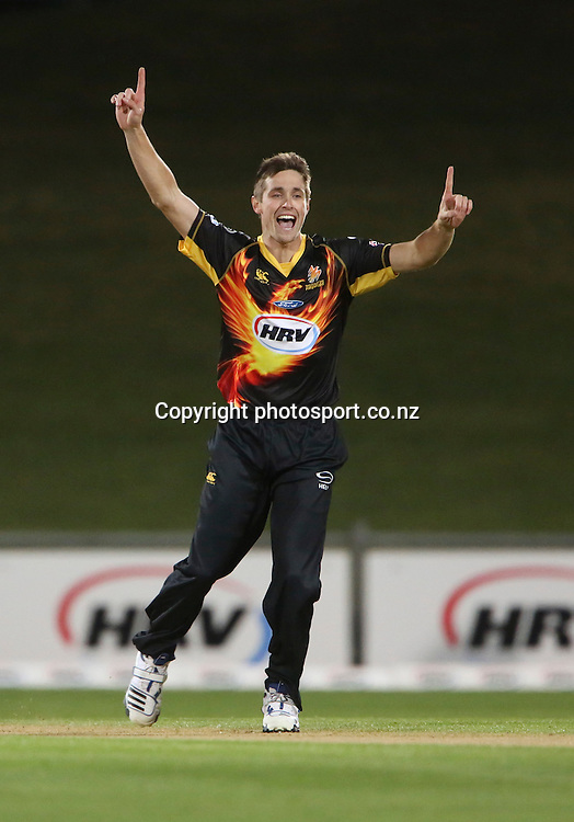 Wellington's Chris Woakes celebrates taking the wicket of Jamie How in the HRV Cup T20 cricket match between the Central Districts Stags and the Wellington Firebirds at McLean Park, Napier, New Zealand. Friday, 07 December, 2012. Photo: John Cowpland / photosport.co.nz