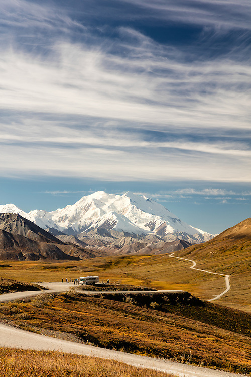 Scenic view of Denali near Stony Hill Overlook in Denali National Park in Interior Alaska. Autumn. Morning.