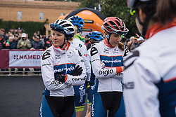 Lotta Lepistö and her Cervélo Bigla teammates wait patiently to be called to the stage - 2016 Strade Bianche - Elite Women, a 121km road race from Siena to Piazza del Campo on March 5, 2016 in Tuscany, Italy.