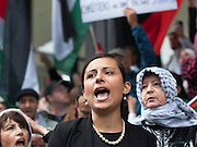 "Hala Yassin, an organizer of the event took the floor to denounce the bombing and the daily death that strikes children. After the speech, protesters chanted ""Viva, viva Palestina"" and ""Free, free Palestine."""