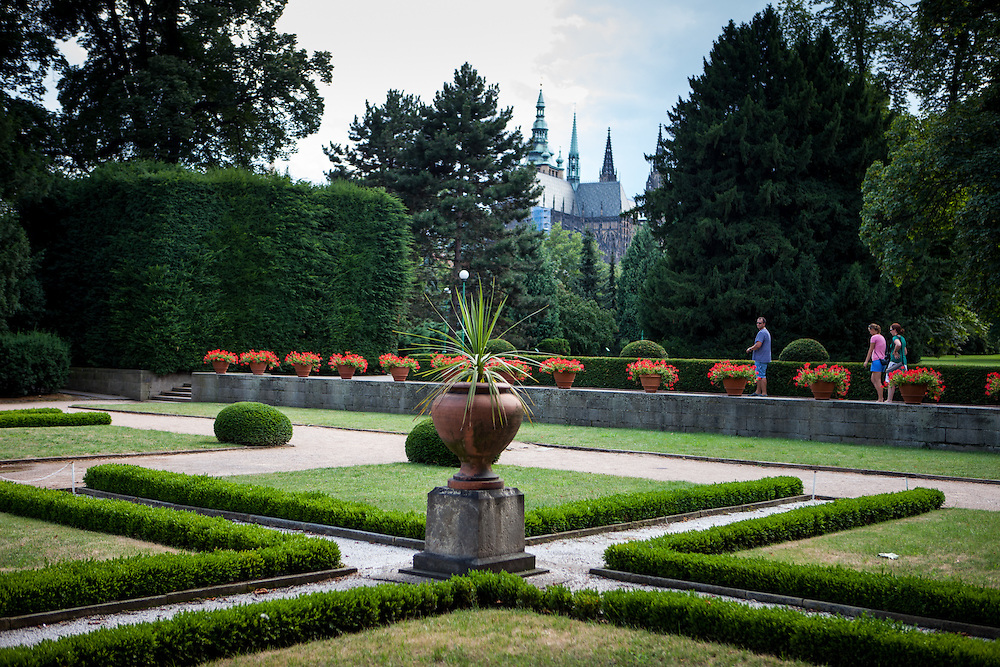 The Royal Garden (Kralovska Zahrada) at Prague Castle, in the back St. Vitus Carthedral.