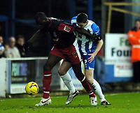Photo: Olly Greenwood.<br />Colchester United v Stoke City. Coca Cola Championship. 16/12/2006. Stoke's Mamady Sidebe and Colchester's Greg Halford