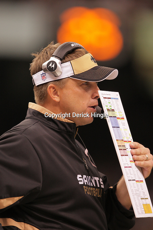 2008 October, 06: New Orleans Saints Head Coach Sean Payton calls a play from the sideline during a week five regular season game between the Minnesota Vikings and the New Orleans Saints for Monday Night Football at the Louisiana Superdome in New Orleans, LA.