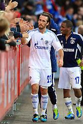23.10.2011,  BayArena, Leverkusen, GER, 1.FBL, Bayer 04 Leverkusen vs Schalke 04, im Bild.Jefferson Farfan (Schalke #17) (R) freut sich mit den Fans und Christian Fuchs (Schalke #23)..// during the 1.FBL, Bayer Leverkusen vs Schalke 04 on 2011/10/23, BayArena, Leverkusen, Germany. EXPA Pictures © 2011, PhotoCredit: EXPA/ nph/  Mueller       ****** out of GER / CRO  / BEL ******