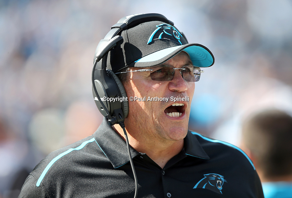 Carolina Panthers head coach Ron Rivera yells out from the sideline during the 2015 NFL week 2 regular season football game against the Houston Texans on Sunday, Sept. 20, 2015 in Charlotte, N.C. The Panthers won the game 24-17. (©Paul Anthony Spinelli)