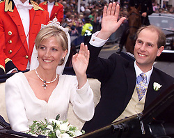 Prince Edward and Sophie Rhys-Jones wave to the crowd following their wedding in St Georges Chapel, Windsor Castle. Buckingham Palace announced before the wedding that the the couple will in future be known as the Earl and Countess of Wessex.