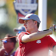 Ryder Cup 2016. Day One. Jordan Spieth of the United States in action during the Friday afternoon four-ball competition during the Ryder Cup at  Hazeltine National Golf Club on September 30, 2016 in Chaska, Minnesota.  (Photo by Tim Clayton/Corbis via Getty Images)