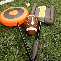 January 5, 2012; New Orleans, LA, USA; A detail of a yard marker and football on the field during LSU Tigers team practice for the 2012 BCS National Championship game to be played on January 9, 2012 at the Mercedes-Benz Superdome.  Mandatory Credit: Derick E. Hingle-US PRESSWIRE