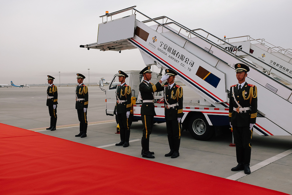 Ceremonial guards at the Yinchuan Hedong International Airport Yinchuan, Ningxia, China.