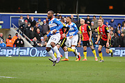Queens Park Rangers midfielder, (David Hoilett) Junior Hoilett (23) scoring from the penalty spot for second goal of game during the Sky Bet Championship match between Queens Park Rangers and Birmingham City at the Loftus Road Stadium, London, England on 27 February 2016. Photo by Matthew Redman.