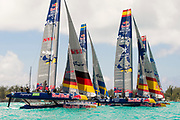 The Great Sound, Bermuda, 20th June 2017, Red Bull Youth America's Cup Finals. Race three start.