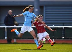 Lauren Hemp of Bristol City Women is intercepted by Jill Scott of Manchester City Women - Mandatory by-line: Paul Knight/JMP - 03/05/2018 - FOOTBALL - Stoke Gifford Stadium - Bristol, England - Bristol City Women v Manchester City Women - FA Women's Super League 1