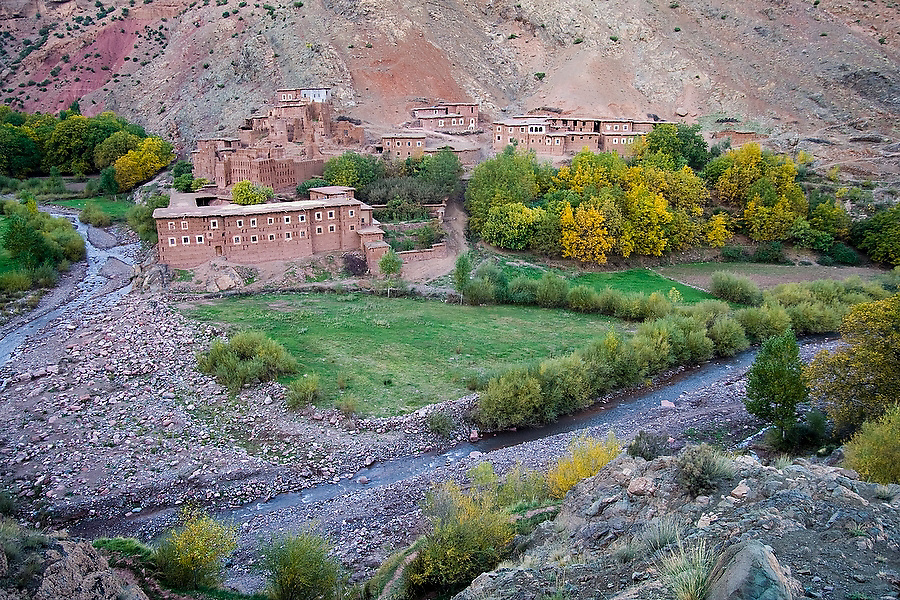 A fortified Berber town in a dramatic river canyon between Abachkou and Rougoult in the M'Goun Massif, Central High Atlas, Morocco on November 4, 2007...
