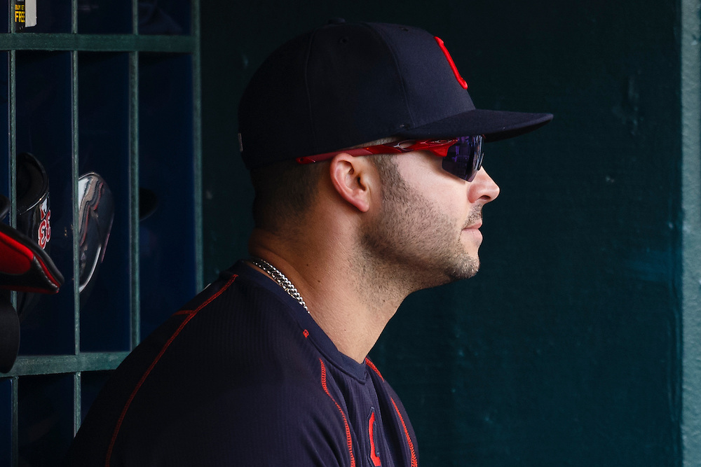 Jun 13, 2015; Detroit, MI, USA; Cleveland Indians designated hitter Nick Swisher (33) watches from the dugout in the seventh inning against the Detroit Tigers at Comerica Park. Mandatory Credit: Rick Osentoski-USA TODAY Sports