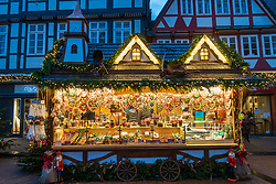 Traditional stall at Celle Christmas Market in Lower Saxony, Germany