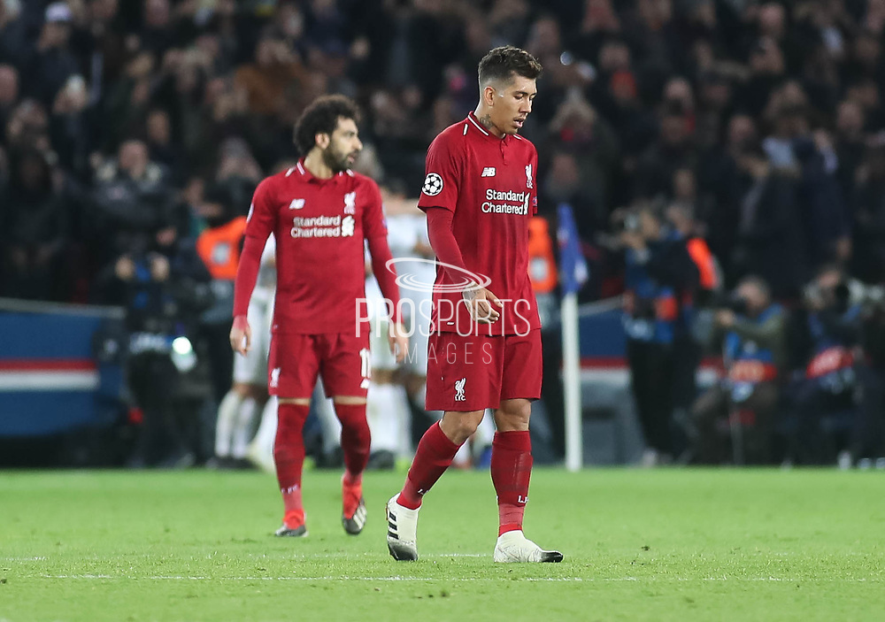 Roberto Fermino of Liverpool disappointed during the Champions League group stage match between Paris Saint-Germain and Liverpool at Parc des Princes, Paris, France on 28 November 2018.