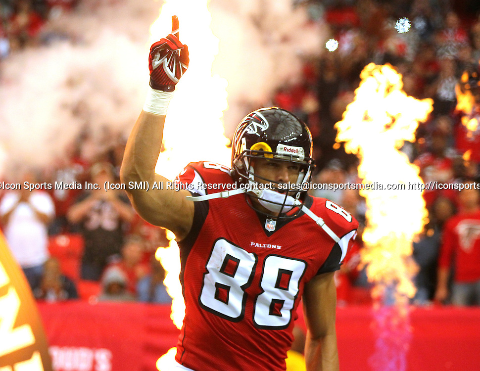 10 November 2013: Atlanta Falcons tight end Tony Gonzalez (88) is introduced in the Seattle Seahawks 33-10 victory over the Atlanta Falcons at the Georgia Dome in Atlanta Georgia.