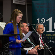 08/12/2015                <br /> Limerick City & County Council launches Ireland 2016 Centenary Programme<br /> <br /> An extensive programme of events across the seven programme strands of the Ireland 2016 Centenary Programme was launched at the Granary Library, Michael Street, Limerick, last night (Monday, 7 December 2015) by Cllr. Liam Galvin, Mayor of the City and County of Limerick.<br /> <br /> Led by Limerick City & County Council and under the guidance of the local 1916 Co-ordinator, the programme is the outcome of consultations with interested local groups, organisations and individuals who were invited to participate in the planning and implementation of events and initiatives during 2016.  <br /> <br /> Pictured at the event was Holly Carey, St. Patricks Girls NS. Picture: Alan Place