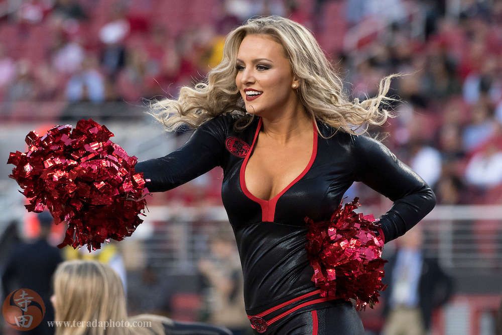 October 6, 2016; Santa Clara, CA, USA; San Francisco 49ers Gold Rush cheerleader Sophia during the first quarter against the Arizona Cardinals at Levi's Stadium. The Cardinals defeated the 49ers 33-21.