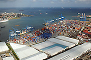 Aerial view of France Field storage area. Colon City, Colon province, Panama, Central America.