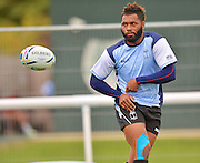 Metuisela Talebula off loads the ball during the Fiji Training Session in preparation for the Rugby World Cup at London Irish RFC, Sunbury-On-Thames, United Kingdom on 14 September 2015. Photo by Ian Muir. during the Fiji Training Session in preparation for the Rugby World Cup at London Irish RFC, Sunbury-On-Thames, United Kingdom on 14 September 2015. Photo by Ian Muir.