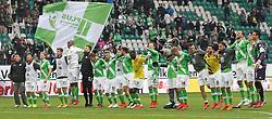 Football: Germany, 1. Bundesliga, VfL Wolfsburg - Borussia Dortmund (BVB), Wolfsburg - 16.05.2015,<br />Naldo (Wolfsburg), Biego Benaglio (Wolfsburg), Kevin de Bruyne (Wolfsburg) celebrate with team mates and mascot after the match<br /><br />&copy; pixathlon<br /><br />+++ NED out !!! +++