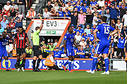 Leicester City Defender, Wes Morgan (5) is shown a yellow card during the Premier League match between Bournemouth and Leicester City at the Vitality Stadium, Bournemouth, England on 15 September 2018.