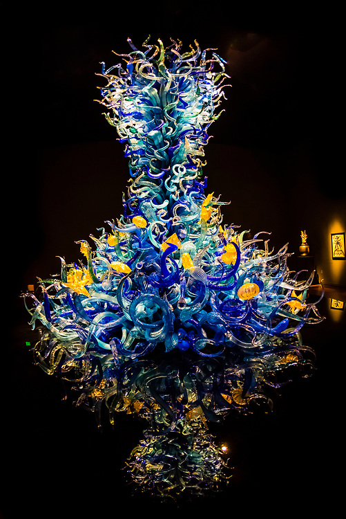 Exhibits by glass artist Dale Chihuly, the Chihuly Garden and Glass Museum, Seattle Center, Seattle, Washington USA.
