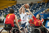 Toronto, Ontario, Canada. 23rd June, 2014. World Women's Wheelchair Basketball Championships, Mattamy Athletic Centre, Toronto Ontario, Canada, Great Britain v China - Helen Freeman (GBR) shoots between Haizhen Cheng and Yun Long (CHN) © Peter Llewellyn/Alamy Live News