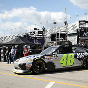 Sprint Cup Series driver Jimmie Johnson (48) gets a push into his garage at Daytona International Speedway on February 18, 2011 in Daytona Beach, Florida. (AP Photo/Alex Menendez)
