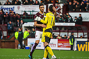 Hearts FC Defender Igor Rossi Branco and Hearts FC Goalkeeper Neil Alexander celebrate the first goal during the Ladbrokes Scottish Premiership match between Heart of Midlothian and Celtic at Tynecastle Stadium, Gorgie, Scotland on 27 December 2015. Photo by Craig McAllister.