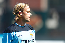 July 16, 2011; San Francisco, CA, USA;  Manchester City goalkeeper Eirik Johansen (63) warms up before the game against Club America at AT&T Park. Manchester City defeated Club America 2-0.