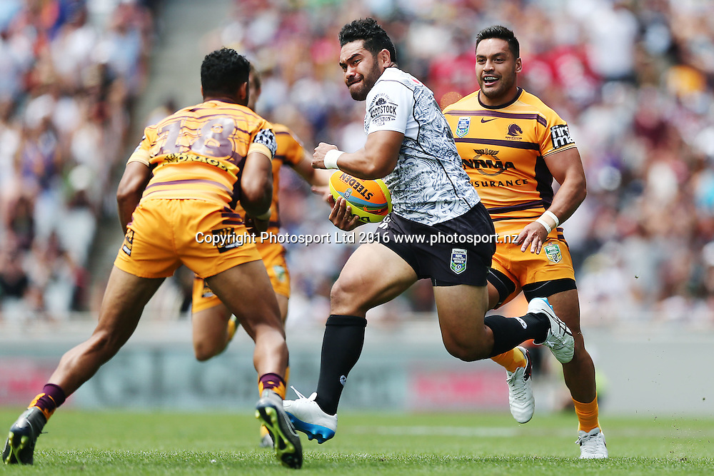Konrad Hurrell of the Warriors on the charge against Jonus Pearson of the Broncos during Day 2 of the NRL Auckland Nines Rugby League Tournament, Eden Park, Auckland, New Zealand. Sunday 7 February 2016. Photo: Anthony Au-Yeung / www.photosport.nz